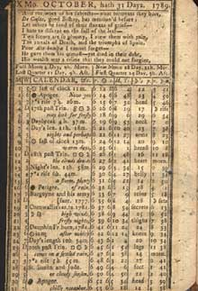 Almanac October 1789