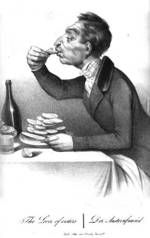 cartoon of a man eating oysters