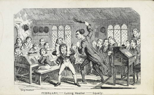 engraving of schoolchildren in classroom with a techer poised to whip a boy