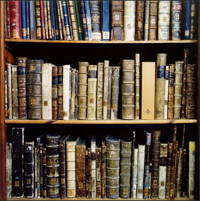 Photo of books on a shelves with spines showing